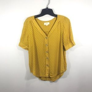 {Antrho} Maeve Mustard Polka Dot button up top